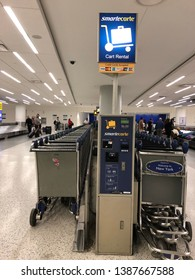 Queens,NY/USA- May 2,2019: JFK Airport Smart Carte Cart Rental Services for passengers convenience