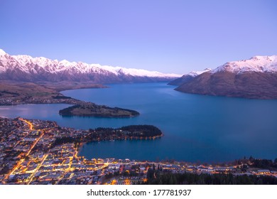 Queenstown during to sunset in New Zealand