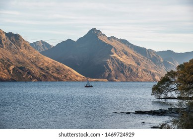 QUEENSTOWN ,NEW ZEALAND - April 11,2019 : sailing is one of the most popular activity in world famous iconic scenery of Remarkable mountain of New Zealand