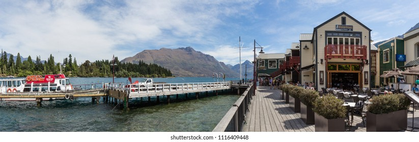 Queenstown New Zealand, December 24th 2014 : Queenstown waterfront and restaurants