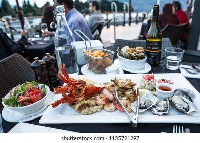 Queenstown New Zealand, December 24th 2014 : Fresh seafood platter at a restaurant on the harbour at Queenstown, New Zealand