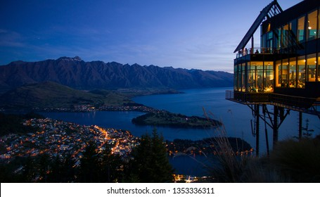 Queenstown, New Zealand - December 5 2015: Skyline Queenstown Restaurant with view of the Remarkables Mountains and Lake Wakatipu, Queenstown, Otago, South Island, New Zealand
