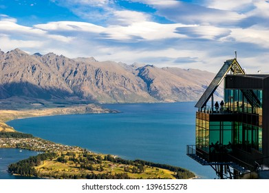 QUEENSTOWN, NEW ZEALAND - FEB 10, 2013: Viewing Platform of Queenstown which allow visitors to have an aerial view over Queenstown and the Remarkables