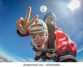 Queenstown, New Zealand - Feb 24, 2017: Skydivers are jumping from the airplane.