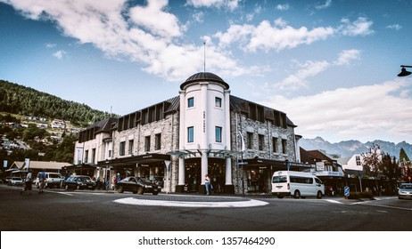 Queenstown, New Zealand - March 09 2015: Image of the town centre in Queenstown where all the traffic intercept overlooking Shotover street. Anyone passing through Queenstown will go through here.