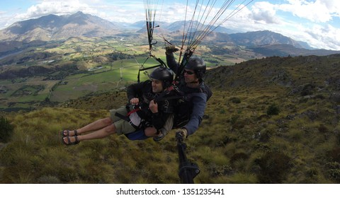 Queenstown, New Zealand - March 12 2015: Image from my paragliding activity from SkyTrek at Coronet Peak the highest commercial take off in New Zealand.