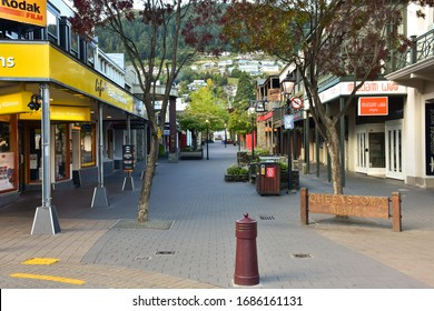 Queenstown, New Zealand - March 27 2020: Queenstown Mall is Empty in downtown Queenstown, New Zealand during the Covid19 / Coronavirus Lockdown