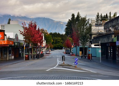 Queenstown, New Zealand - March 27 2020: Looking East on Camp Street from Shotover Street in downtown Queenstown, New Zealand during the Covid19 / Coronavirus Lockdown