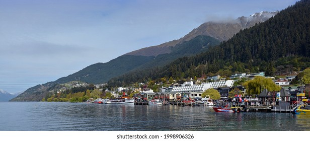 Queenstown, New Zealand - October 12, 2018; Panorama of Queenstown township and lake wakatipu in Spring, New Zealand