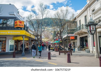 Queenstown, New Zealand -September-26-2017 :Tourist walking on the walking street of Queenstown mall the shopping centre in the heart of Queenstown's CBD.