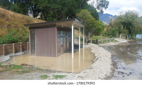 Queenstown, New Zealand-02.05.20: Flooded public toilets by the seaside in queenstown.