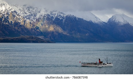 QUEENSTOWN, NZ - JULY 16: TSS Earnslaw on July 16 2014. It's one of the oldest tourist attractions in Otago and the only remaining commercial passenger coal-fired steamship in the southern hemisphere.
