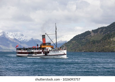 QUEENSTOWN, NZ - NOV 06: TSS Earnslaw on Nov 06 2017. It's one of the oldest tourist attractions in Otago and the only remaining commercial passenger coal-fired steamship in the southern hemisphere.