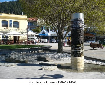 Queenstown, Otago / New Zealand - October 14 2009: Abstract sculpture showing the flood levels for two floods in Queenstown, New Zealand.