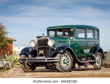 QUEENSTOWN, SOUTH AFRICA - 17 June 2017: Vintage green Dodge Brothers Standard Six limousine car parked at show