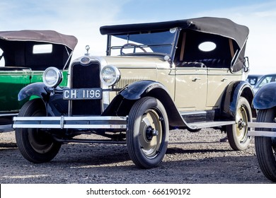QUEENSTOWN, SOUTH AFRICA - 17 June 2017: Vintage brown Chevrolet AB National four door sedan car parked at exhibition