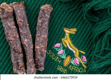 QUEENSTOWN, SOUTH AFRICA: 20 July 2019 - Springbok rugby team scarf depicting the South African rugby team's emblem of 1995 when they had their iconic win of the Rugby World Cup against the All Blacks