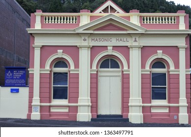 QUEENSTOWN, TAS - MAR 27 2019:Masonic Center in Queenstown Tasmania Australia.Freemasons gathering in a Lodge to work the three basic Degrees of Entered Apprentice, Fellowcraft and Master Mason.