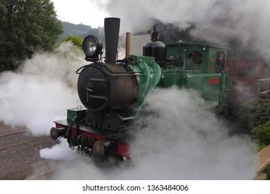 QUEENSTOWN, TAS - MAR 27 2019:Tasmania West Coast Wilderness Railway.The original railway began operations in 1897 as the only link between Queenstown and the port of Strahan in Tasmania, Australia.