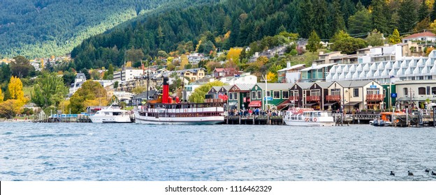 Queenstown,New Zealand - April 26,2016 : TSS Earnslaw Steamship only remaining commercial passenger coal-fired steamship in the southern hemisphere from the port of Lake Wakatipu in New Zealand.