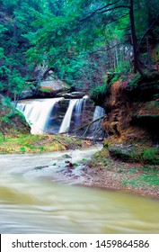 Queer Creek Falls, in Hocking Hills State Park, Ohio, USA