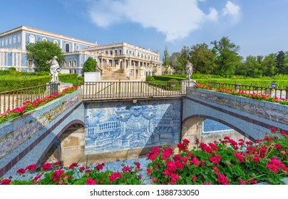Queluz, Portugal - April 2018: azulejo bridges in the park of the national palace