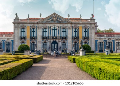 Queluz, Portugal - April 2018: frontal view on the royal palace
