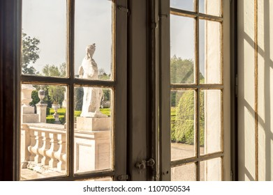 Queluz, Portugal - April 24, 2018: Window to the garden at Queluz National Palace, the palace where Dom Pedro I was born and died