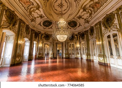 Queluz, Portugal - December 9, 2017: The Ballroom, rich decorated of Queluz Royal Palace. Formerly used as the Summer residence by the Portuguese royal family.