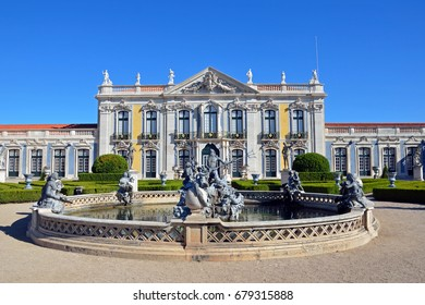 QUELUZ, PORTUGAL - JULY 1, 2017: Neptune's Lake is a fountain at the garden in the National Palace of Queluz that was built between 1747 and 1794 for King Pedro and his wife, later Queen Maria I.
