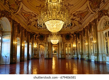 QUELUZ, PORTUGAL - JULY 1, 2017: National Palace of Queluz that was built between 1747 and 1794 for King Pedro and his wife, later Queen Maria I and it was initially conceived as a summer residence.