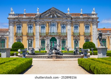 QUELUZ, PORTUGAL - JULY 4, 2012: The ceremonial facade of the corps de logis. Queluz National Palace, in the municipality of Sintra, Lisbon district, Portugal