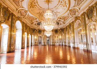 QUELUZ - PORTUGAL - JULY 4, 2012 - The Ballroom of Queluz National Palace. Despite being far smaller, the palace is often referred to as the Portuguese Versailles