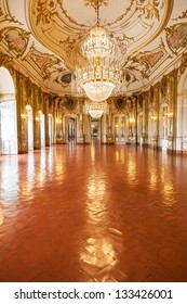 QUELUZ - PORTUGAL - JULY 4 - The Ballroom of Queluz National Palace on July 4 2012. Despite being far smaller, the palace is often referred to as the Portuguese Versailles