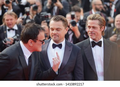 "Quentin Tarantino, Leonardo DiCaprio and Brad Pitt attend the screening of ""Once Upon A Time In Hollywood"" during the 72nd annual Cannes Film Festival on May 21, 2019 in Cannes, France."