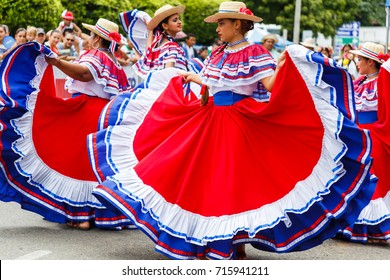 Quepos, Costa Rica, September 15, 2017: Photo of dancers performing a traditional dance in traditional clothing at the Independence Day parade