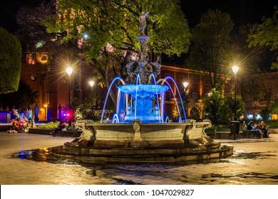 Queretaro, Mexico, 2016, Center of the city at night