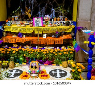 Queretaro Mexico, circa Oct 2017 - The Day of the Dead El Día de los Muertos in Spanish is a Mexican and Mexican-American celebration of dead ancestors. Multi colored statues and skulls are shown.