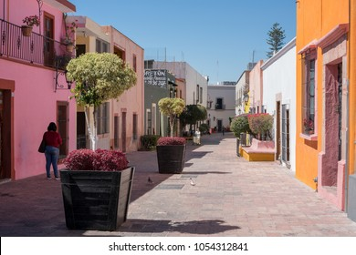 QUERETARO, MEXICO - FEBRUARY 13, 2018: Downtown Queretaro alleys and old houses a spring time.