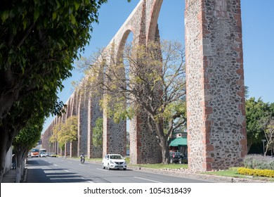 QUERETARO, MEXICO. FEBRUARY 13, 2018. The Los Arcos (aqueduct) in Queretaro, Mexico. Constructed between 1726 and 1735.
