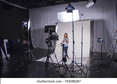 Queretaro - october 3, 2012: Television studio with white cyclorama and lights. All ready to start recording