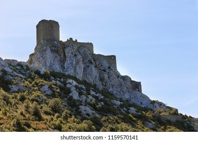 Queribus castle, the Last Cathar Stronghold, Languedoc-Roussillon, France.