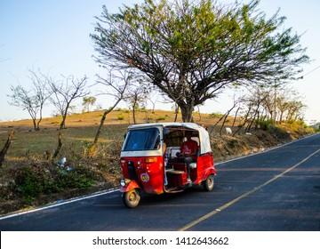 "Quesada, Jutiapa/Guatemala - 03/24/2016:  This is the three-wheeled mini transportation called ""Tuc-Tuc"" used in some guatemalan departments."