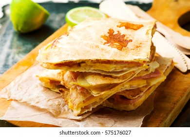 Quesadilla with Ham, Apple and Cheese.selective focus
