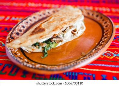 quesadilla mexican breakfas spicy food puebla mexico