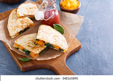 Quesadillas with cheddar, kale and sweet potato