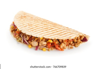 Quesadillas with corn and meat isolated on white background