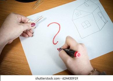 question: Buy or rent ? Business concept. mortgage credit. Buying or selling question mark. Finance, economy,  real estate concept - time to buy or sell. key. Abstract idea of buying property. dilemma