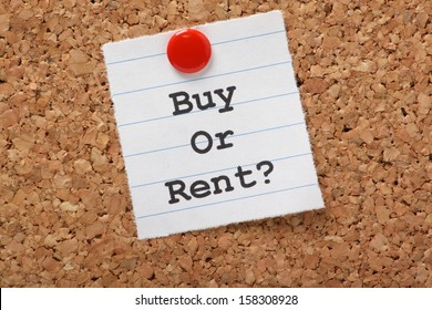 The question to Buy or Rent? typed on a scrap of lined paper and pinned to a cork notice board. A decision aided by analysis of the real estate market and our personal finances.