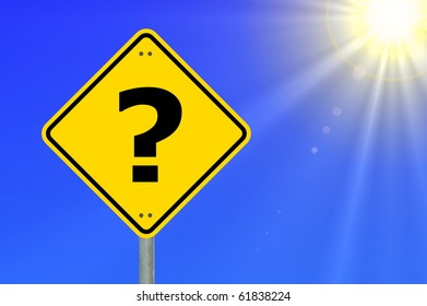 question concept with interrogation mark on roadsign